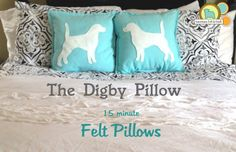 The Digby pillow is a felt craft with plenty of wow factor these 15 minute faux applique pillows are a must make. All you need are 15 minutes and a few simple supplies to transform a plain or inexpensive pillow into crisp stylish custom throw pillow. Applique Pillows, Throw Pillows, Free Applique Patterns, Felt Pillow, Felt Dogs, Pillow Tutorial, Felting Tutorials, Felt Ornaments, Felt Crafts