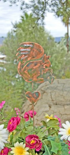 Squirrel Decor Garden Stake / Metal Garden Art / Yard Art / Copper Art / Squirrel Garden Sculpture / Outdoor Metal Art / Squirrel Spike by GardenCopperArt on Etsy