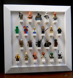 Lego mini-figure display @Beth J Woodruff-Schroder a fun gift idea for the boy, no?
