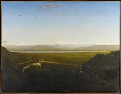 """Théodore Rousseau: """"View of Mont Blanc, Seen from La Faucille"""", oil on canvas, Dimension: 36 x 46 in. x cm) 35 x 46 in. x cm) (sight) 51 x 62 x 6 in. x x cm) (outer frame), Current location: Minneapolis institute of Art. Theodore Rousseau, Saint Catherine Of Alexandria, Native Country, Getty Museum, John The Baptist, Claude Monet, 14th Century, Impressionism, Oil On Canvas"""