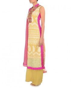Golden Beige Chikankari Suit with Palazzo Pants - Suits - Apparel