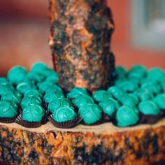 Teal swirl cake balls on rustic cake stand for a  wedding. www.cakeballers.com #thecakeballers #cakeballers #cakeballer #cakeballs #wedding #herecomesthebride #sweets #teal