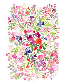Field of Spring Flowers Art Print by Yao Cheng Design | Society6