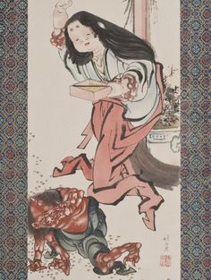Audsley - Japanese Woman defeating Demon 2 - 1884 Ornamental Arts of Japan FOLIO