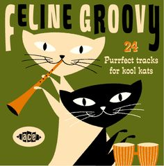 feline groovy 1950s vintage  record cover  mod black cat  retro
