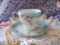 Cottage Romantic Shabby Vintage Chic Porcelain Cup and Saucer with Pink Roses by VintagePorcelainArt, via Flickr
