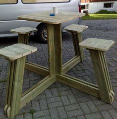 Picnic Table: wouldn't this be cute with old tractor seats.