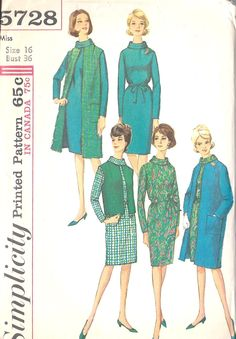 """1960s Misses One-Piece Dress Vintage Sewing Pattern, Coat and Jacket, Mad Men, Office Fashion Simplicity 5728 bust 36"""""""