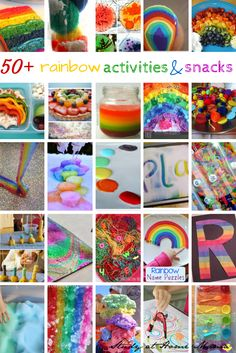 Over 50 rainbow activities and snacks, including rainbow crafts, rainbow science experiments, rainbow literacy activities, healthy rainbow snacks & desserts