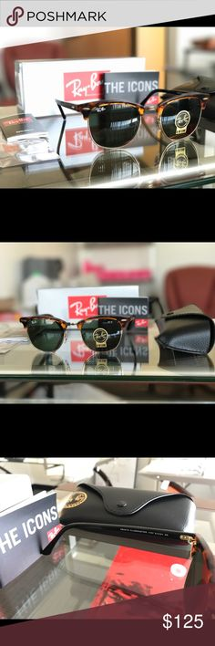 Authentic Ray-Ban ClubMaster Sunglasses 51mm Get yourself a beautiful pair of brand new Ray-Ban Club Masters for 60% off retail price! Please refer to the details below to get a better idea of what you are purchasing:  •These are 100% Brand New and Authentic Ray-Ban Club Masters •This is the 51mm lens. Tortoise Frame & Green Lens •This is 100% Covered by Ray-Bans limited Life Time Warranty.  •Your purchase will be Bubble Wrapped and insured.  •Your purchase included everything seen in the…