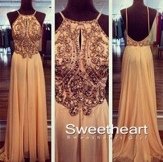A line Chiffon Backless Beading, Sequin Long Prom Dresses from Sweetheart Girl on Storenvy