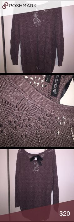 Maurices Knit Sweater with bow Women's Size 2 from Maurices. Has bow detail on the back. Used, but in great condition. Maurices Sweaters Crew & Scoop Necks