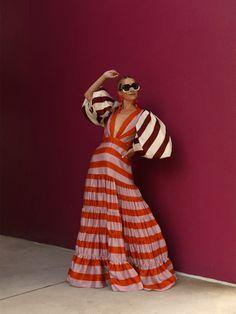 Seeing stripes // Blair Eadie wearing a striped dress and bolero both by Johanna Ortiz // Sunglasses by Carolina Herrera and earrings by Dinosaur Designs Bold Fashion, Autumn Fashion, High Fashion, Fashion Trends, Fashion Sites, Fashion Outfits, Chic Outfits, Summer Outfits, Blair Eadie