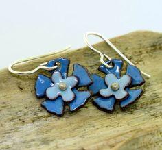 Blue Flower Earrings  enamel earrings by by KathrynRiechert, $30.00