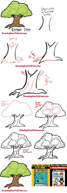 Flower Drawing How to Draw Cartoon Trees with Easy Step by Step Drawing Tutorial - Do you want to learn how to draw a cartoon-style tree? Look no further.here we have an easy guide to drawing a classic tree in cartoon-style. Have fun! Cartoon Tutorial, Easy Drawing Tutorial, Flower Drawing Tutorial Step By Step, Landscape Drawing Tutorial, Flower Drawing Tutorials, Landscape Sketch, Step By Step Watercolor, Sketches Tutorial, Landscape Drawings