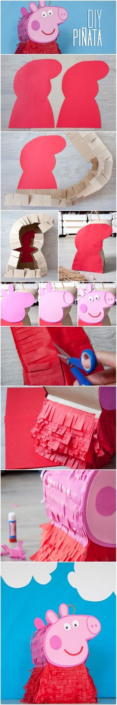 Tutorial on how to make a Peppa Pig piñata Peppa Pig Pinata, Cumple Peppa Pig, Pig Birthday, 4th Birthday Parties, George Pig Party, Pig Crafts, Party Time, Baby Party, Ideas Originales