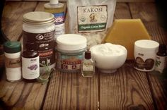 Ingredients for homemade bentonite clay and baking soda deodorant for people with sensitive skin