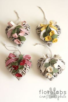 wood hearts with felt flowers