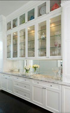 Kitchen Pantry Design, Kitchen Redo, Home Decor Kitchen, Kitchen Interior, New Kitchen, Home Kitchens, Kitchen Remodel, Glass Kitchen Cabinets, Dining Room Storage