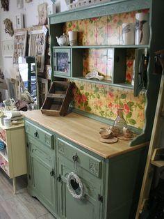 Sage Green Kitchen Dresser Sideboard Cabinet Welsh by EllieMagpie