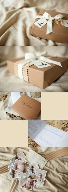This is professional proof packaging, but is a lovely idea for putting together a photograph (or any paper based) gift.  Would require thought and time.