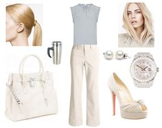 "Eva gets ready for work with Gideon: ""I chose a slim pair of pressed natural-linen slacks and a sleeveless poplin shell in a soft grey that matched my eyes. Since I had no hairstyling talent, I pulled my long blond hair back in a simple ponytail, then made up my face. Reflected In You: A Crossfire Novel by Sylvia Day"