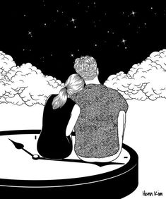 Illustration hand drawn by Henn Kim - Ego - AlterEgo Couple Drawings, Art Drawings Sketches, Drawing Art, Art And Illustration, Henn Kim, Art Watercolor, Couple Art, Love Wallpaper, Love Art