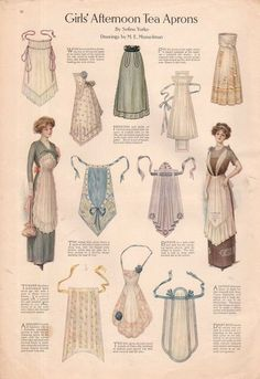 The one the lady is wearing on the left. I have plans for one like that --- 1911 Ladies Home Journal Print Girl's Afternoon Tea Aprons Actresses Dresses Retro Mode, Mode Vintage, Edwardian Fashion, Vintage Fashion, Edwardian Era, Costura Vintage, Patron Vintage, Sewing Aprons, Historical Clothing