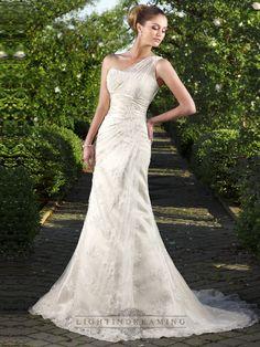 One-shoulder Floral Embroidered Sheath Wedding Dreses - LightIndreaming.