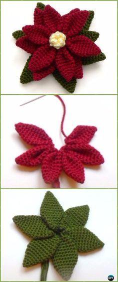 Crochet 3D Poinsettia Flower Free Pattern Video - Crochet Poinsettia ...