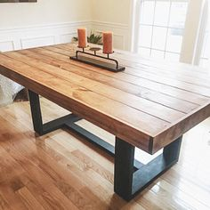 Modern Farmhouse Dining Table with Black Base and Natural Top Table And Bench Set, Square Dining Tables, Modern Dining Table, Dining Room Table, Dining Rooms, Butcher Block Dining Table, Rustic Kitchen Design, Kitchen Decor, Kitchen Ideas