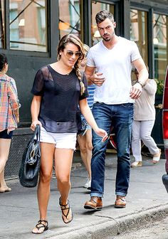 Back from Italy, Lea Michele and her yummy new boyfriend Matthew Paetz headed towards a cab in downtown NYC.