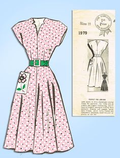 Mail Order Misses Dress w Flower Pocket 36 B Vintage Sewing Pattern 1940s Dresses, Day Dresses, Miss Dress, Vintage Sewing Patterns, Cap Sleeves, Pocket, Flower, Nice, Products