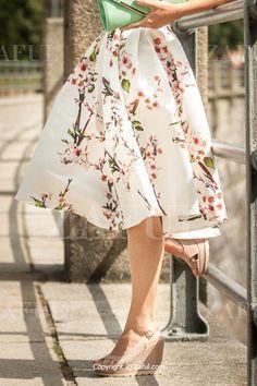 Peach Print Sweet Ball Gown Skirt