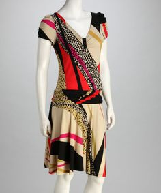 Take a look at this Beige & Red Abstract Drop-Waist Dress - Women by Voir Voir on #zulily today!