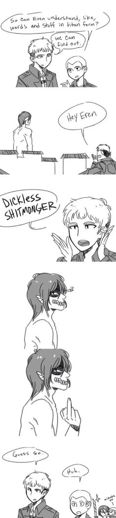 """So can Eren understand, like, words and stuff in titan form?"" [Humor] #jean #connie #eren #titan #mikasa #armin"