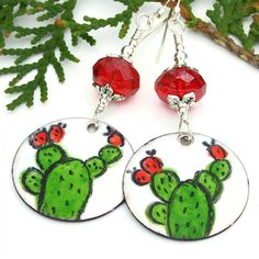 Enamel #Cactus #Earrings, Green Red White Boho #Handmade #Jewelry #Gift by #ShadowDogDesigns #ButterflysPin - $40.00