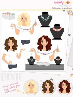 Jeweller woman character clipart, jewelry crafter woman clipart set with blonde, brunette and auburn hair (Dixie L169) by Lovelytocu on Etsy https://www.etsy.com/uk/listing/520446915/jeweller-woman-character-clipart-jewelry
