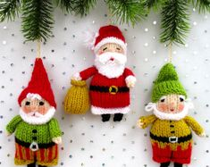 Santa and Elves - Father Christmas - Elf - Gnome - PDF - Doll knitting pattern from dollytime on Etsy Studio Knit Christmas Ornaments, Easy Christmas Decorations, Christmas Elf, Simple Christmas, Christmas Crafts, Father Christmas, Crochet Christmas, Christmas Wreaths, Tree Decorations