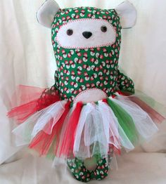 Frosty Snowman Christmas Bear Plushie by DivineLuluCreations, $22.00