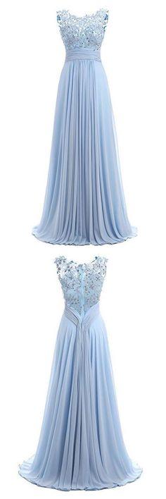Sky Blue Long Chiffon Prom Dresses with Lace, cheap prom dresses, prom dresses for teens, evening dresses, lace prom dresses, chiffon prom dresses, party dresses #simibridal #promdresses