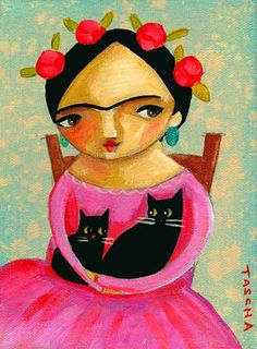 Frida with 2 Black Cats by Tascha Parkinson, 2008