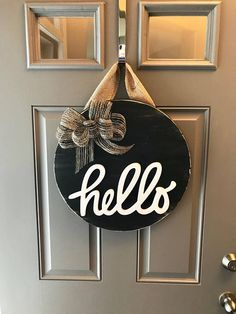 Modern Door Decor, Door Hanger, Hello Door Sign, Black Door Hanger, All Year Door Wreath, Front Door Hanging, Round Wood Sign, Hello Wreath