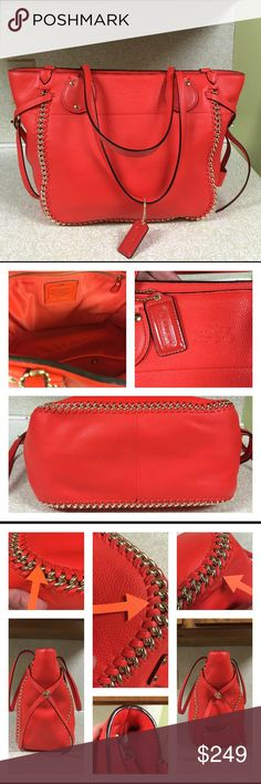 """Coach Whiplash Orange Handbag Very nice Coach bag. Minor wear around corners. One pen mark inside. Inside clean. Bag only used 10 times. Lost original hang tag. Included a orange tag that is very close in color. No damage to edge coat on straps. No should strap. Don't thing this bag came with one. Authentic. 11 inches tall. 17 inches long. Strap drop 9.5"""" inches. 5.5 inches wide on base. Coach Bags Shoulder Bags"""
