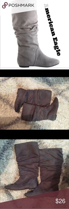 Worn Once American Eagle Gray Boots 7.5 Worn Once American Eagle Gray Boots 7.5  American Eagle gray boots. Micro-suede fabric slouch boots. Worn once. Like new condition. Thanks for looking! 7.5 American Eagle By Payless Shoes