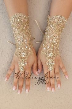 UNIQUE embroidered with gold Wedding Gloves  lace by WEDDINGGloves, $65.00