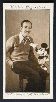 'Walt [avid smoker' Disney and Mickey [hopefully non-smoker] Mouse'    Walt Disney and 'Mickey Mouse' cigarette card (81337)