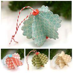 ornaments...good way to use scrapbook scraps