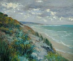 Gustave Caillebotte-Cliffs the sea at Trouville