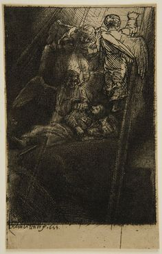 Rembrandt Harmensz van Rijn -  Jacob's Ladder, 1655,  sheet: 11.1 x 7.2 cm    Harvard Art Museums